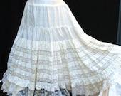 Edwardian Petticoat Slip 1900s Silk and Lace Skirt Slip Bustle Back Gibson Girl 1900
