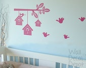 children wall decal wall sticker art nursery decal - birds house and tree branch decal - 27