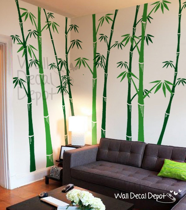 Bamboo wall decal tree wall decals wall sticker by for Poster mural zen deco