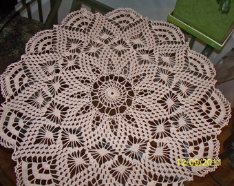"""27"""" Cream 12-Point Star within a Star Crocheted Doily"""