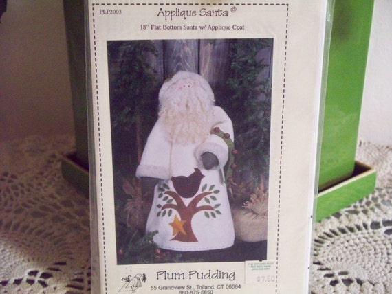 "Plum Pudding 18"" Flat Bottom Santa with Applique Coat Pattern"