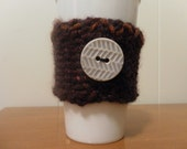 Burgundy Coffee Cup Cozy with Button to Keep Your Hands Cool