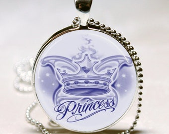 Blue Princess Crown Handcrafted Necklace Pendant (PD0486)