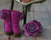 Pretty in Pink Pair 9 - Hot Pink - Handmade leather Boots and Accessory Set for Blythe