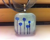 Hand Painted Blue Circle Flowers Pendant with Lace Necklace in Watercolor