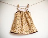 Mod Dress / Vintage Fabric / Gold and Brown Floral /  'Esthel' newborn - 6 months or  6-12 months