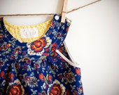 Mod Dress / Vintage Fabric / Blue and Red Floral /  'Lena' 0-6, 6-12 months, or 18-24 months