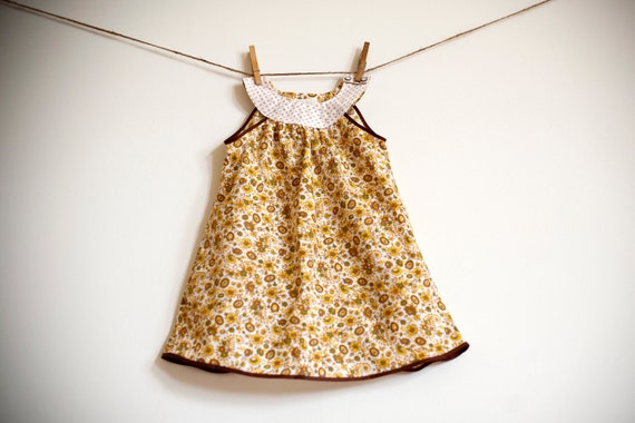 Mod Dress / Vintage Fabric / Gold and Brown Floral /  'Esthel' newborn - 6 months or  6-12 months
