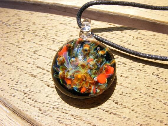Glass fireworks pendant, Flameworked borosilicate glass pendant