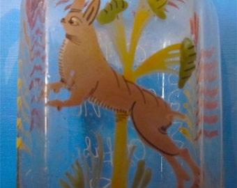 Antique Mouthblown German Rabbit Bottle