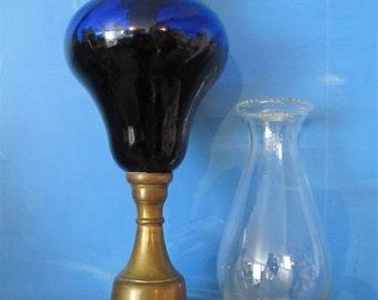 Antique Colbalt Blue Oil Lamp
