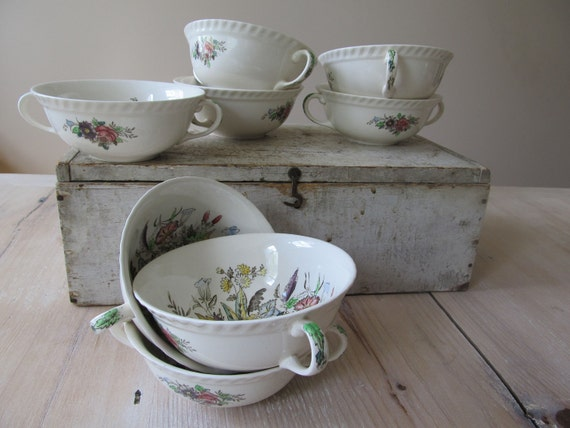 Garden Bouquet, Consomme, Boullion, Double Handle, Bowls, Jonhson Bros., Widsor Ware, China Reserved for Bethanny