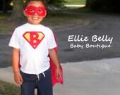 Boys Customized Superman Logo T-shirt and Cape. Sizes 3 months - Boys Large (12-14).