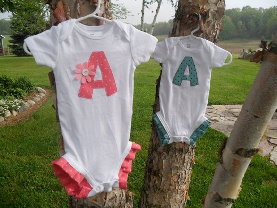 Baby Girls Ruffle Leg Initial Onsie. Custom Made. Sizes 3 months to 24 months.