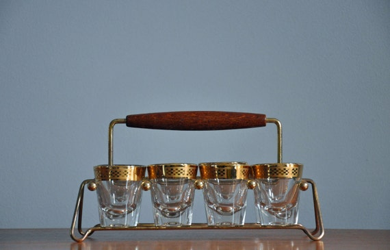 Mid-Century Shot Glasses with Caddy