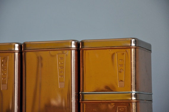 Mid-Century Copper Canister Set