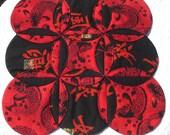 Koi Fish Quilt Runner Centerpiece Red Black