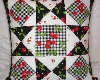 DecorativeThrow Pillow, Black Cherries, White, Cherry, Checkerboard, Handmade