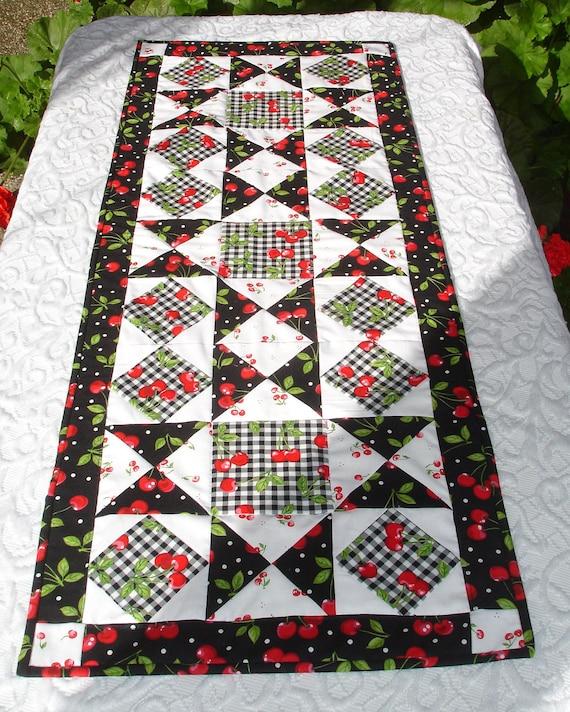 Cherry Table Runner Quilt - Cherries, Black, White, Red, Checkerboard