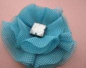 Turquoise Blue Flower Clip or Brooch w/ Gem Stone