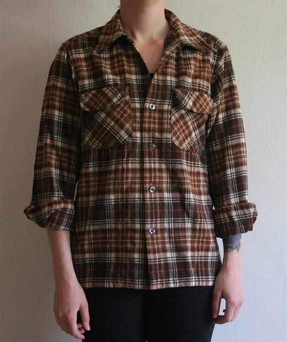 Rare Vintage 70s Pendleton USA Plaid Work or Boyfriend Shirt
