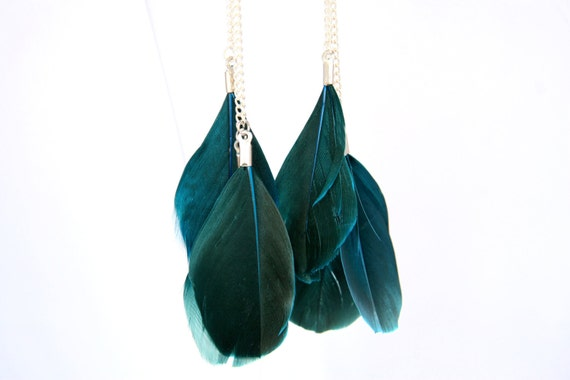 Deep Teal Turquoise Feather Earrings