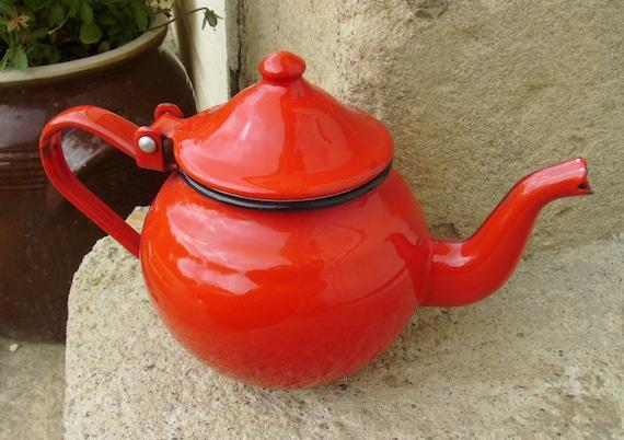 Vintage French enamelware teapot