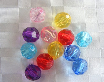 049-  Transparent acrylic bead, faceted round, mixed color, 12mm diameter (30 pcs)