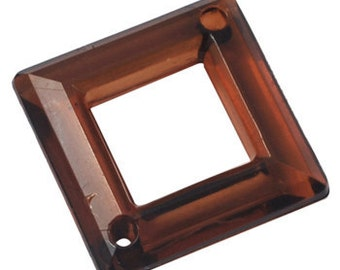 037-  Acrylic pendant square ring, coffee, 20mmX20mm  (12 pcs)