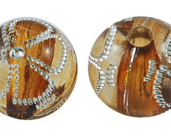 108-Acrylic Beads, Metal Enlaced, Round, Peru, about 12mm in diameter, (20 pcs)