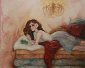 """Abstract Fairytale 12x12"""" Art Print """"The Princess and the Pea"""" by Jessica Brown"""