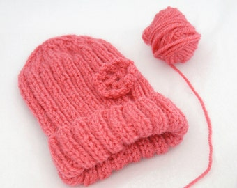 Pink Preemie Baby Hat- Hand Knitted Baby Cap with Crocheted Flower- Charity Donation