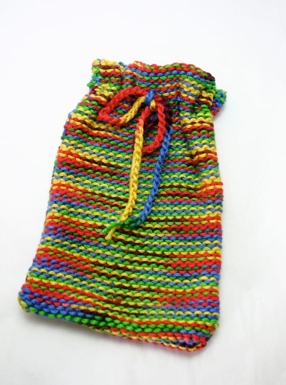 Striped Knit Cozy- Colorful Pouch -Drawstring- Fits Most Older iPhones- Hand Knit