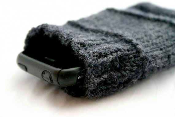iPhone 4 Cozy-Dark Grey Hand Knit-Drawstring Pouch-Fathers Day