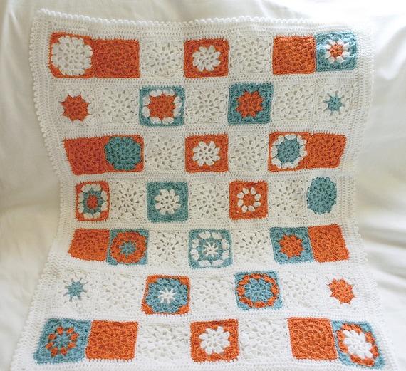 Crochet Baby Blanket-Granny Square Afghan-Tangerine Orange Turquoise White
