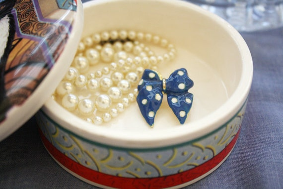Blue Bow Pin with Polka Dots - Metal