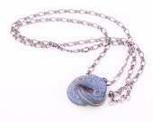 "Porcelain Necklace- Textured ""Hug Knot"" Indigo Blue"