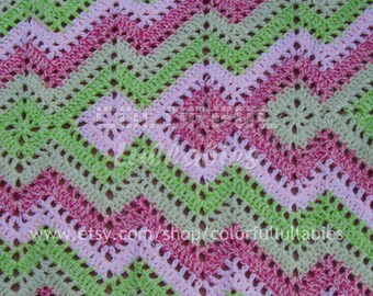 Crochet square and ripple blanket pattern. Crochet baby afghan, Crochet blanket for baby. Easy crochet pattern for babies