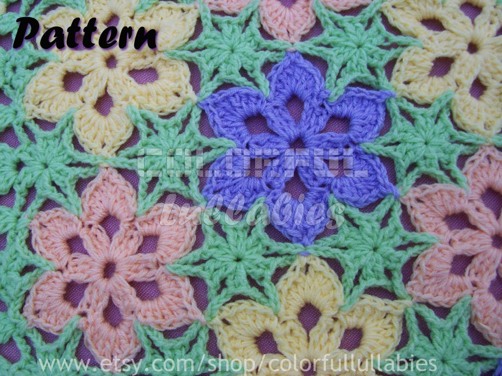 Crochet Flower Pattern Blanket : PDF Crochet Pattern. Flower blanket. How by ColorfulLullabies