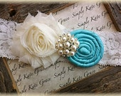 Wedding Garter- Vintage Wedding Bridal Garter- Ivory and Tiffany Blue Wedding Garter