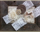 Wedding Garter- Vintage Wedding Bridal Garter and Toss Garter- Dark Champange and Ivory Wedding Garter-Toss Garter