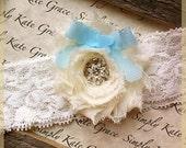 Wedding Garter- Ivory Vintage Wedding Bridal Toss Garter-Toss Garter-Something Blue