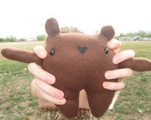 Waving Bear- Brown Stuffed Plush Made With Recycled Fabric