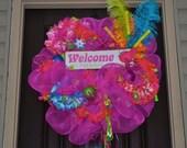 Bright Wreath, Summer Wreath, Beach Wreath, Wreath, OOAK, Deco Mesh Wreath, Mesh Wreath