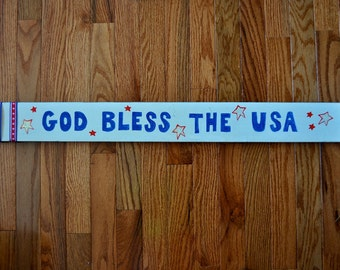 Gold Bless The USA Wooden Sign, Wooden Sign, Patriotic Sign