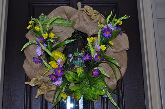 Flower Wreath, Bird Wreath, Butterfly Wreath, Burlap Wreath, Wreath,