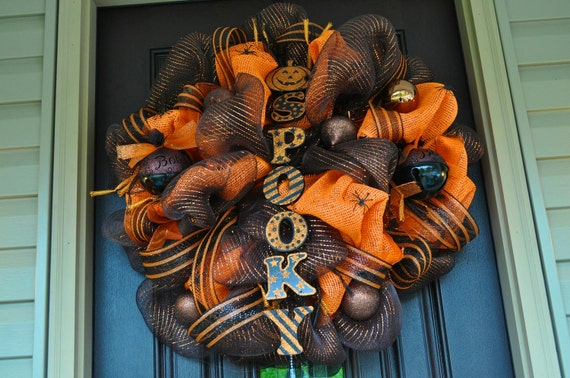 Halloween Wreath, Spider Wreath, Deco Mesh Wreath, Halloween, Spider, Pearl Wreath, Orange Wreath