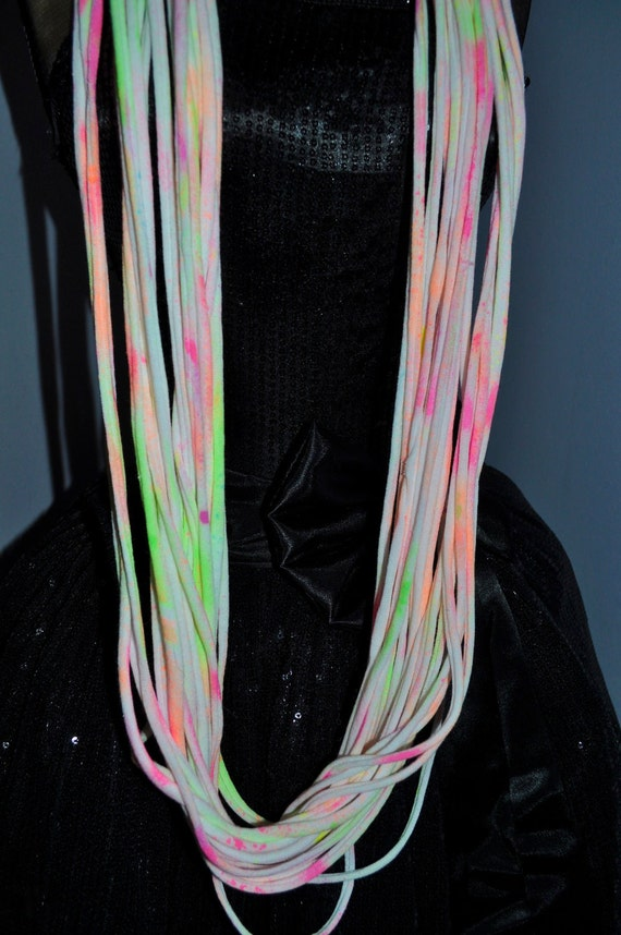 Skinny Summer Scarf Necklace - Eco Friendly Cotton Jersey Infinity T shirt Scarf - Neon Painted
