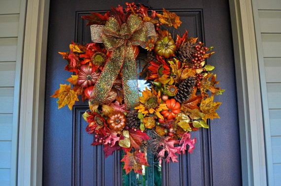 Fall Wreath, Fall, Fall Decor, Fall Decoration, Wreath, Deco Mesh Wreath, Pumpkin, Pumpkin Wreath