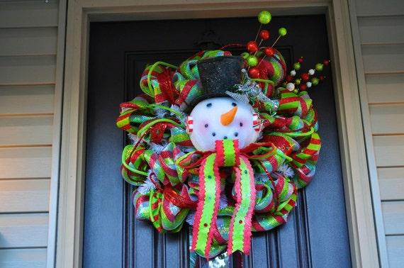 Christmas Wreath, Deco Mesh Wreath, Wreath, Snowman, Snowman Wreath, Christmas, Christmas Decor, Christmas Decoration